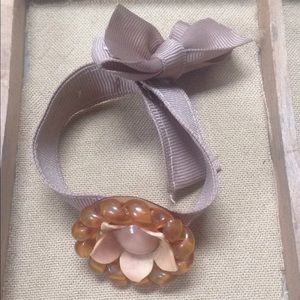 Jewelry - Handmade Ribbon Bracelet Vintage Brooch Pin